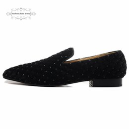 Wholesale Flat Bottom Rhinestones - Size 39-46 Men Black Cross Flock With Rhinestone Slip On Square Toe Red Bottom Dress Shoes