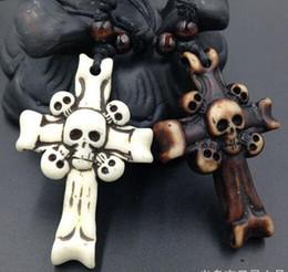Wholesale Wholesale Rope Cross - Hot ! 24pcs New European and American Fashion Imitation Bovine Bone Skull Cross Pendant Wax Cord Necklace