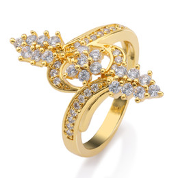 Wholesale High Quality Cz Wedding Rings - Exquisite 18k Yellow Gold Plated Bridal Engagament Ring Shiny Cubic Zirconia CZ Finger Ring High Quality Jewelry