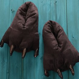 Wholesale Black Claw Slippers - Wholesale-Animal Paw Slippers Winter Monster Claw Slippers Plush Home Slippers Indoor Shoes