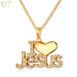 "Wholesale jesus piece wholesale - U7 Cz Jesus Piece Heart Necklace &Pendant For Women  Men Trendy Silver  Gold Color Christian Jewelry ""I Love Jesus ""Gifts P610"