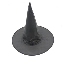 Wholesale Sexy Halloween Witch Hat - Halloween witch hat wizard hat cap pure black steeple hat Oxford Party Witch Sexy UniformCostumes caps for women and kids