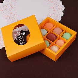 Wholesale Chemical Chocolate - 100pcs 9 Grids Macaron Packaging Gift Box 14*14*4.5cm Dessert Chocolate Candy Kraft Paper Box Party Favor ZA5551
