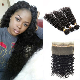 Wholesale Mongolian Remy Lace Frontal - Indian Deep Wave 360 lace frontal with 3 bundles Color 1B Brazilian Peruvian Human Hair Deep Curly Virgin Hair