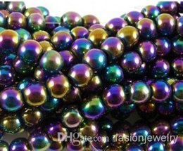 Wholesale Loose Crystal Beads Free Shipping - hot 8mm 10mm 200pcs lot silver gold plated multicolor Magnetic Hematite Round Bead Beads Free Shipping Loose ball Bead Shamballa Findings