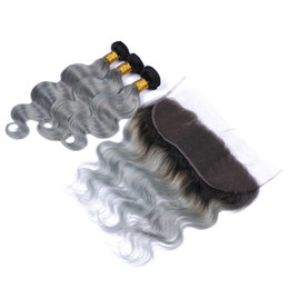 weave frontals Coupons - Virgin Peruvian Ombre Human Hair 3Bundles With 13x4 Lace Frontal Body Wave 1B Grey Two Tone Human Hair Weaves With Frontals Silver Grey