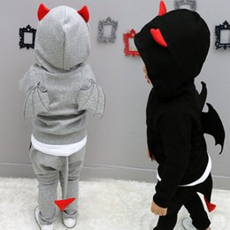 Wholesale Tutu Fedex - FEDEX UPS FREE Kids Monster outfit Children boy Autumn Winter Cloth Long Sleeve hooded Tops Outwear & Pant Outfit Size100-140