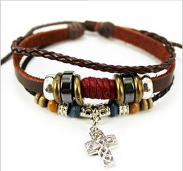Wholesale Leather Slide Charm Bracelet - Mix 8 colors Design Bracelet green natural stone bracelet handmade leather bracelet For Women