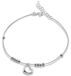 Wholesale Anchor Jewellery - Pure 925 Sterling Silver Jewellery Anklet Foot Chains Woman Ladies Heart Love White Gold Fashion Casual Valentine's Day Christmas Gifts 1pc