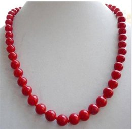 Wholesale Gold Necklace Red Coral - 18''new design long natural 6mm red coral necklace 14k gold