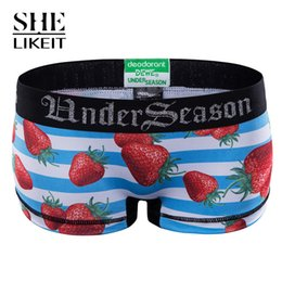Wholesale Strawberry Bikini - Wholesale-Shelikeit 2016 Short Women Seamless Modal Boxer Boyshort Stripes Elastic Strawberry Pattern Sexy Casual Beach Swimming Shorts