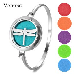 Wholesale Dragonfly Charm Stainless Steel - Aromatherapy Locket Bracelet 316L Stainless Steel Bangle 30mm Dragonfly Magnetic without Felt Pads VA-703