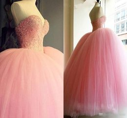 Wholesale Dresses For Sweet 15 - Lovely Light Pink Quinceanera Dresses 2016 Vestidos De 15 Anos Beaded Tulle Sweet 16 Dress Cheap Prom Ball Gowns Formal Dress For Pageant