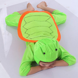Wholesale Tortoise Costumes - Green Tortoise Costumes Kids Plush One piece Rompers Children Cartoon Animal Cosplay Role Play Stage Performance Halloween Christmas Party