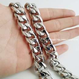 "Wholesale Stainless Steel Curb Chains - High Quality 316L Stainless Steel Silver Curb Chain Cuban 15mm Fashion Jewelry Men's Boy's Necklace 18-38"" Manual Polished Husband Gift"