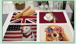 Wholesale Wholesale Animal Print Home Decor - Animal series of cotton and linen insulation placemat The personality USA and UK flag printed pets table mat Home Decor