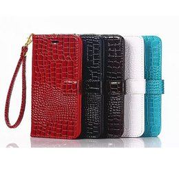 Wholesale Croc Red - Lanyard Wallet Case For iPhone 6 6S 7 Plus 8 8 Plus Flip Cover Luxury Croc PU Leather Phone Bag Case For Samsung S6 S7 S8 S8 Plus