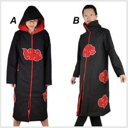 Wholesale Uchiha Coat - Halloween Cosplay Naruto Akatsuki Orochimaru Uchiha Madara Sasuke Itachi Pein Clothes Costume Cloak Cape Wind Dust Coat 2120005