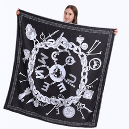 Wholesale Large Shawl Wrap - 130cm*130cm 100% Twill Silk Scarf Women Fashion Luxury Skull Key Square Scarves & Wraps Female Neckerchief Silk Foulard Large Hijab Bandana