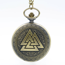 Wholesale Three Triangle Necklace - Retro Vintage Bronze Pyramid Three Triangle Geometric Patterns Quartz Pocket Watch Analog Pendant Necklace Men Women Watch Gift