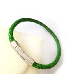 Wholesale Stingray Bracelet Wholesale - (10pcs)Luxury 5MM Stingray leather bracelet Silver Stainless Steel Buckle Bangles for women Men Jewelry gift
