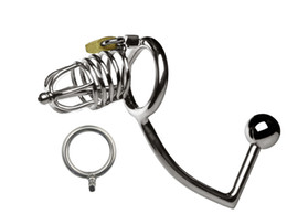 Wholesale Plug Medium Steel - 2016 New Medium Male Stainless Steel Cock Penis Cage Catheter With Anal Hook Anus Plug Butt Beads Chastity Belt Device BDSM Sex Toy A159