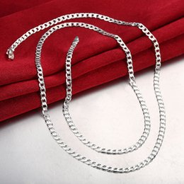 Wholesale Silver Curb Chain 4mm - 925 silver Men's Curb chain vintage necklace hot sale 4MM 16-24 inch bulk 10pcs lot Free Shipping