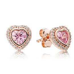 Wholesale Red Cz Earrings - New 100% S925 Sterling Silver & Rose Gold Plated European Style Jewelry Heart Stud Earring with CZ Stud Earrings