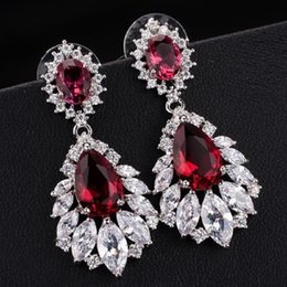 Wholesale Shape Porcelain - New Style Elegant Chandelier Shape AAA+ Cubic Zirconia Diamond Long Big Crystal Bridal Earrings For Wedding Jewelry