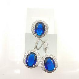 Wholesale Blue Moonstone Earrings - new sterling silver 925 jewelry women's fashion earrings ring Deep Blue color size 7 8 9 jewelry box free gift