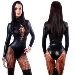 Wholesale Leather Catsuit Long Sleeve - Women's Jumpsuit Black Sexy Leather Dresses Long Sleeve Bodysuits Erotic Leotard Latex Catsuit Costume