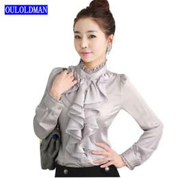 Wholesale Ladies Ruffled Lace Blouses - 2017 Women Basic Body Shirt Blouse Ruffle Long Sleeve Lace Stand Collar Mandarin Fashion OL Korean Office Lady Work Brand Blusas