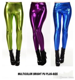 Wholesale Satin Yards - Spring And Autumn In Europe And America Big Yards PU Leather Leggings Pants Multicolor Tight Leather Pants Female Nine Points Leggings