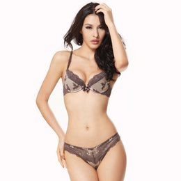 Wholesale Girls Open Strings - Wholesale-Open Cup Lace Bra Set Push Up Sexy Underwear Women France Lingerie Ladies Luxury Transparent Bra and String T-back Girls Bikinis