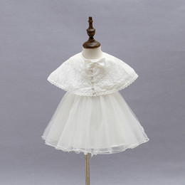Wholesale Baby Princess Cinderella - Fashion Lace baby girls dress cinderella princess children kids baby party dress for 3 to 24month children Kids Party dresses With shawl