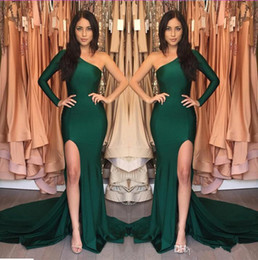 Wholesale One Sleeve Pageant - 2018 Hunter Green Mermaid Evening Dresses One Shoulder Long Sleeves Side Split Prom Dress Simple Pageant Gowns Girl Prom Party Dresses
