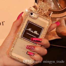 Wholesale Diamond Iphone 4s Cases - Luxury Perfume Bottle Lanyard Chain Case For Iphone 6 Plus 5 5S 4 4S Samsung S3 S4 S5 Note 2 3 Handbag TPU Cover Diamond Bling