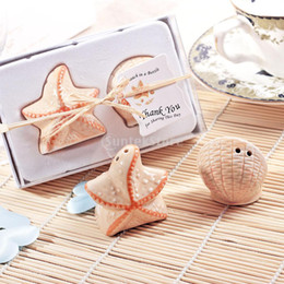 Wholesale Starfish Salt Pepper Shakers - Wholesale- Wedding Ceramic Starfish Shell Salt and Pepper Shakers Canister Set Wedding Party Favors