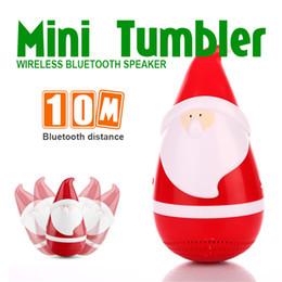 Wholesale Mini Gift Speaker - New Christmas Gift Bluetooth Speakers Santa Claus Mini Wireless Portable Tumbler Roly-poly Speake Stereo Music Player Novelty Christmas Gift