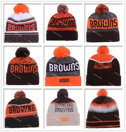 Wholesale Cheap Baseball Beanies - Hot Sale Football Browns Beanies Cheap Pom Beanies High Quality Sports Beanie Hats Brand Knitted Skull Caps all Football Teams Beanies