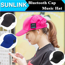 Wholesale Cap Headphones - bluetooth headphone cap Music Baseball Cap Headset Earphone Multi-colors Cotton Headphone Sunhat Wireless Casual Sport Caps For Men Women