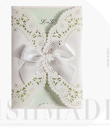 Wholesale Wedding Invitations Ivory Bow - Green inner wide Ribbon bow ivory Elegant laser cut wedding invitations cards hollow personalized Engagement invitation card with envelope