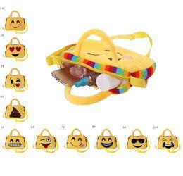 Wholesale School Bags Children Girls - 10 colors Kids Emoji Plush Backpack Purse Girl and Boy School Shoulder Bag Crossbody Handbag children emoji face schoolbag