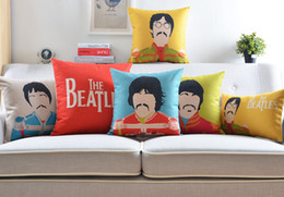 Wholesale beatles pillows - Free shipping novelty gift The Beatles portrait pattern linen Cushion Cover home decorative throw pillow Case