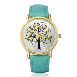 Wholesale Korean Girl Trading - Fine New Style Simple gift watches trade watches Korean female personality tree women Girl Wrist Watch 2piece lot