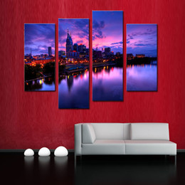 Wholesale Paintings Cityscapes - 4Pieces Canvas Painting Wall Art The Picture For Home Decoration Night Buildings Cityscape Print On Canvas Giclee Artwork For Wall Deco
