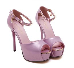 Wholesale Silver Peep Toes - Bridesmaid sexy high heel platform ankle strap peep toe shoes wedding pink silver size 34 to 39