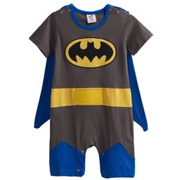 Wholesale Boy Batman Shorts - Baby Boys' Batman Funny Costume Party Cosplay Romper Infant Causal Short Sleeve with Cape 100% Cotton