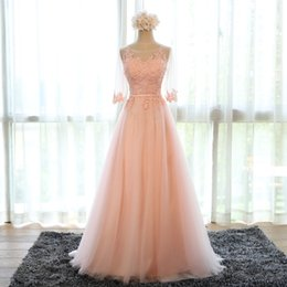 Wholesale Photo Half - Evening Dress 2016 New Bride Banquet Sweet Pink Scoop Neck Half Sleeve Transparent Lace Embroidery A-line Long Prom Formal Dress