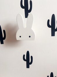 Wholesale Decorative Wall Hooks Wholesale - Wooden Rabbit decorative INS Children's Room Cute Bunny hanger hook On Wall Boys Girls gift 3colors